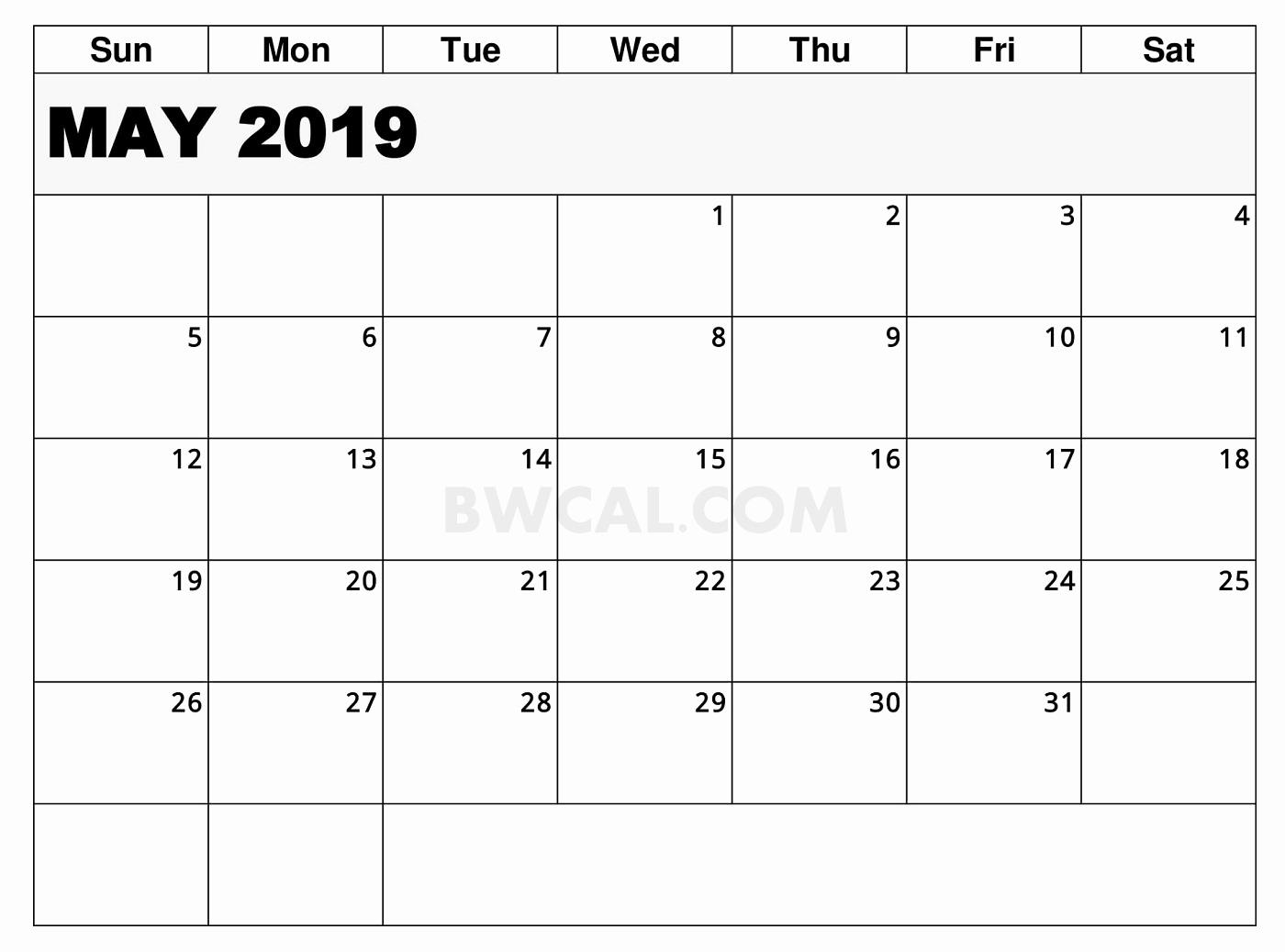 May 2019 Calendar Editable