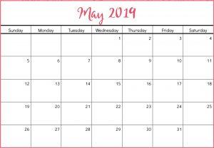 May 2019 Calendar Template Cute