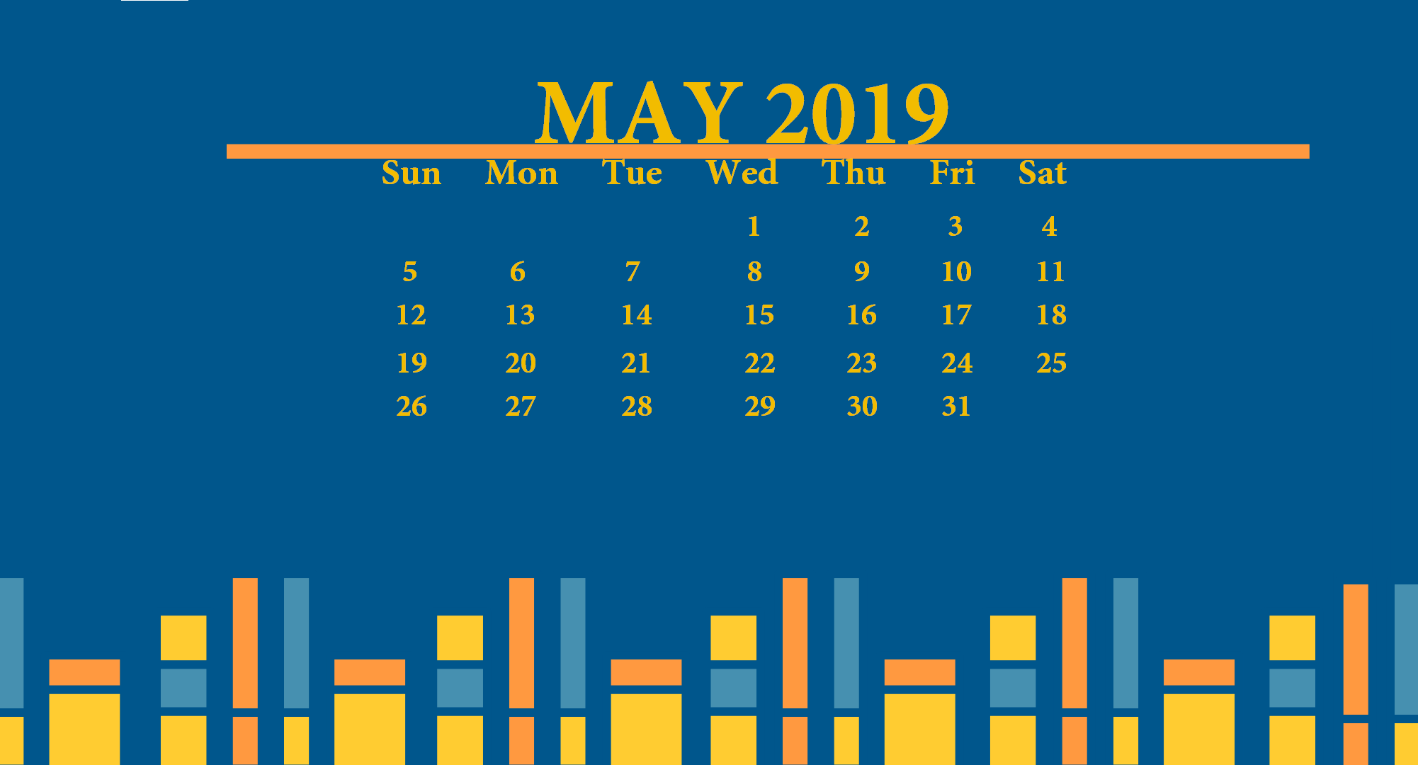 May 2019 Desktop Wallpaper With Calendar