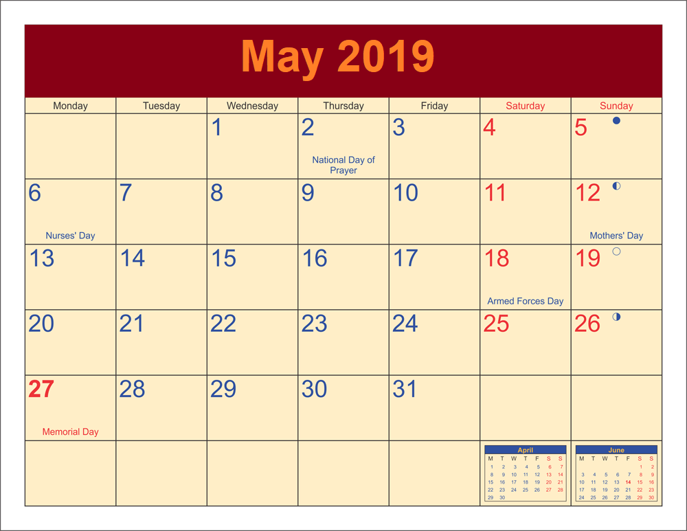 May 2019 Moon Calendar with Holidays
