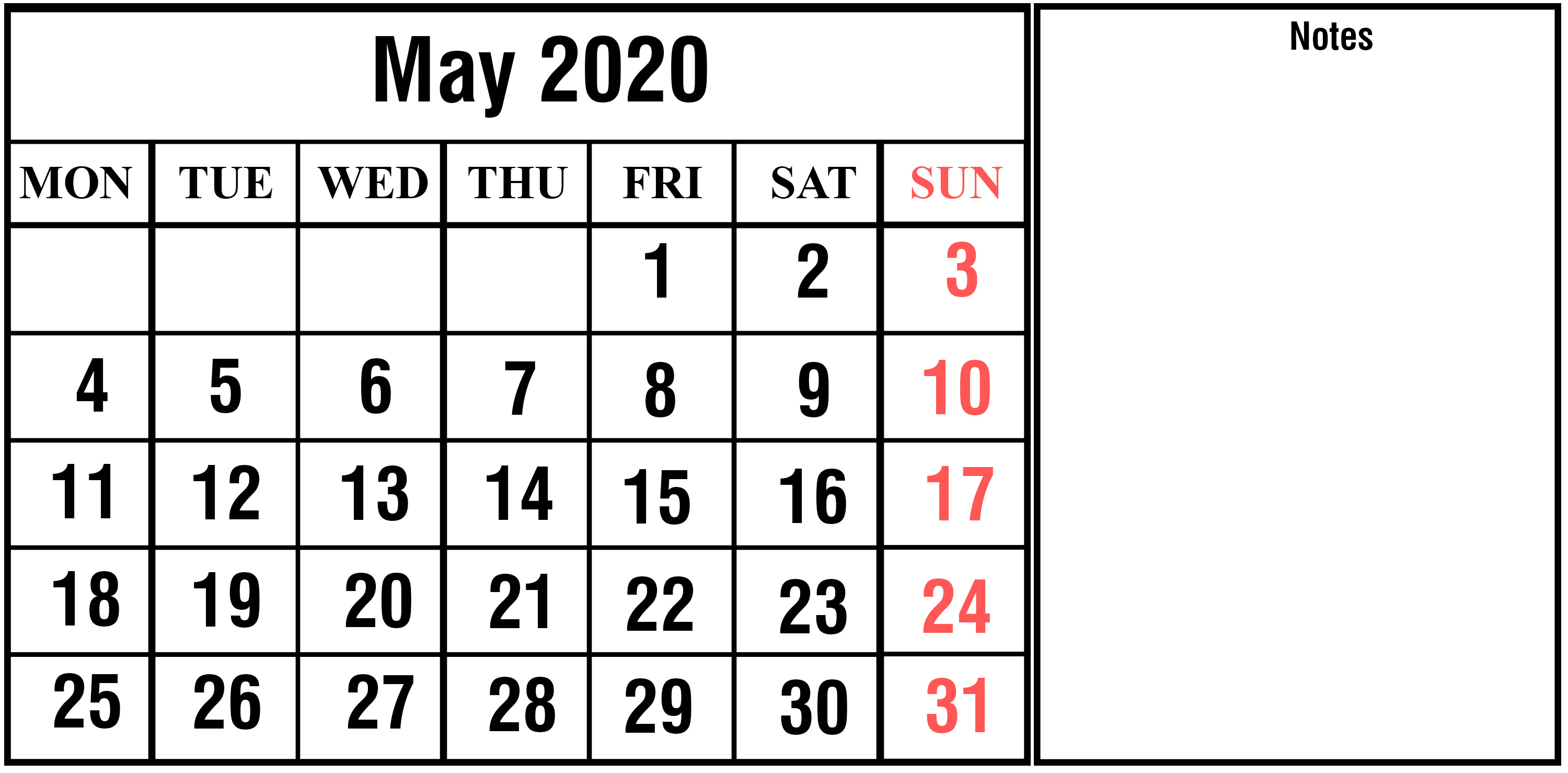 May 2020 Blank Calendar with Notes