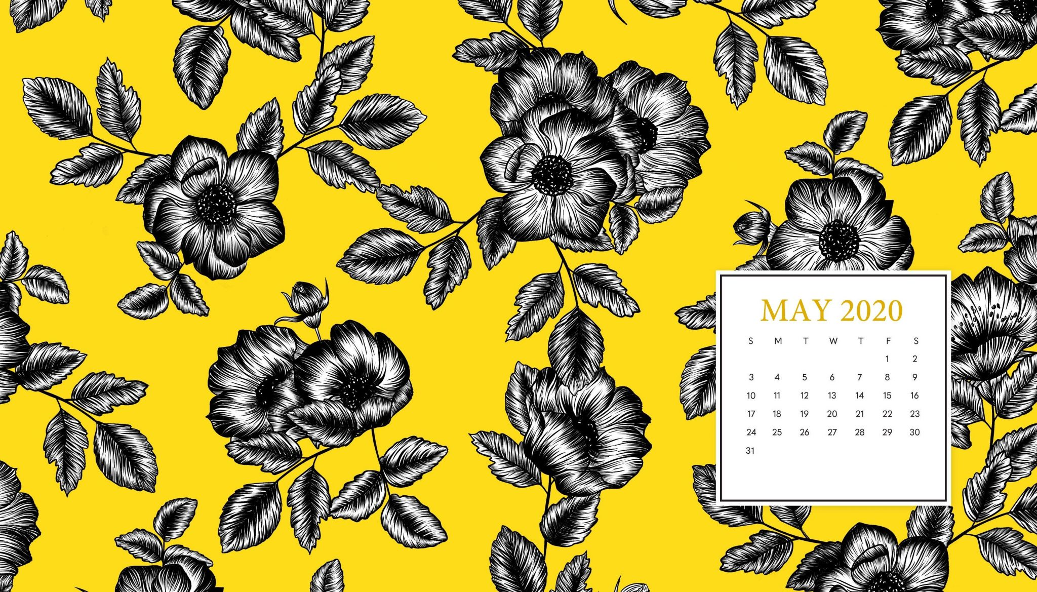 May 2020 Desktop Calendar Wallpaper
