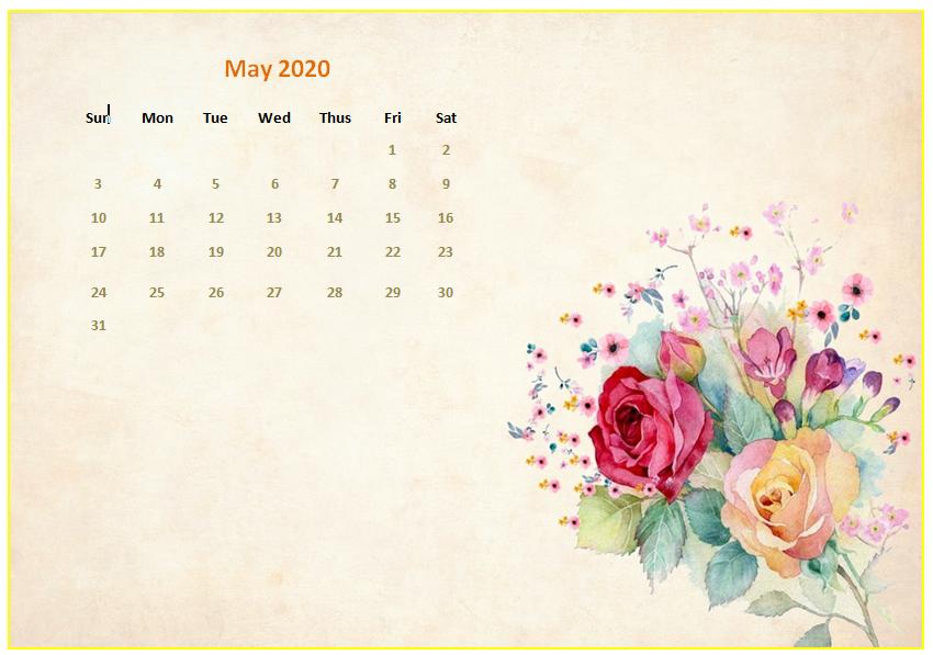 May 2020 Floral Calendar Wallpaper