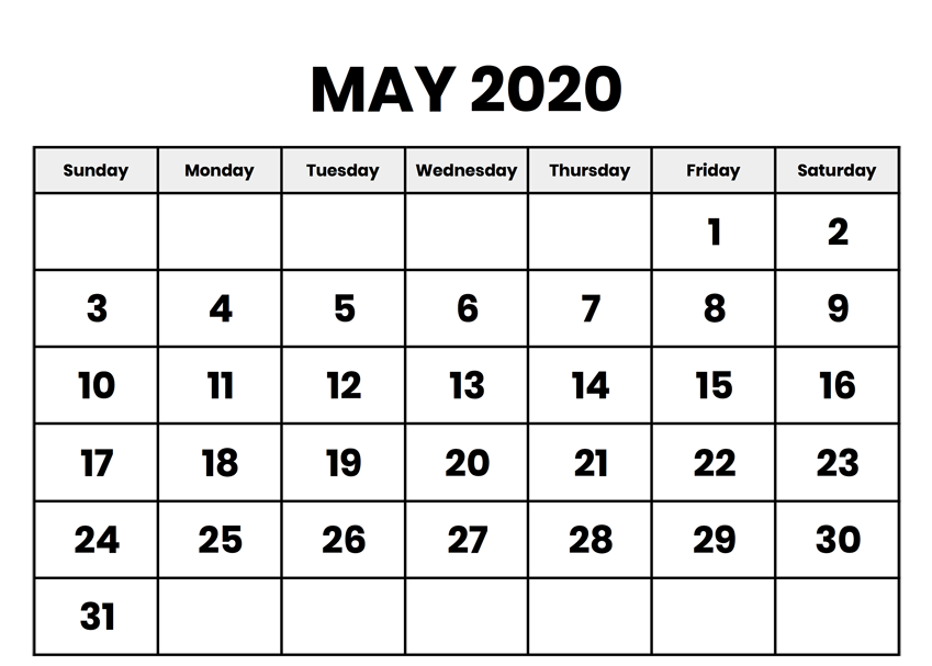 Monthly Blank Template May 2020
