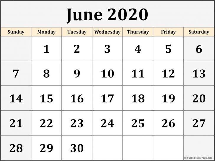 Monthly Calendar Printable Template June 2020