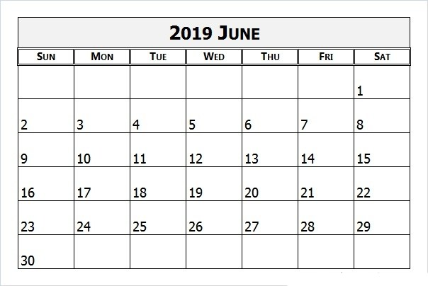 Monthly Calendar Template June 2019
