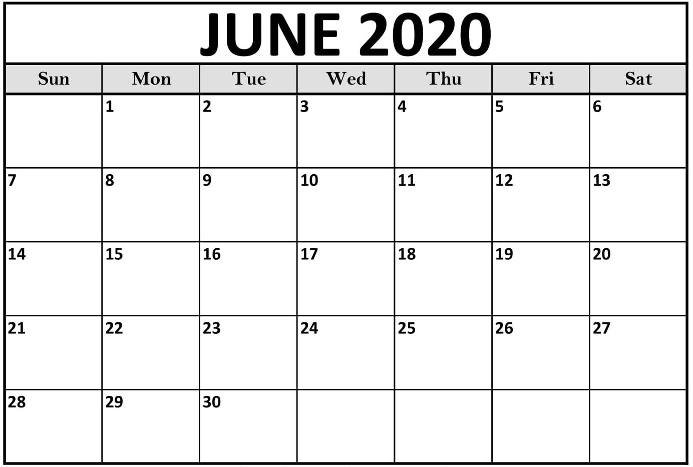 Monthly Calendar Template June 2020