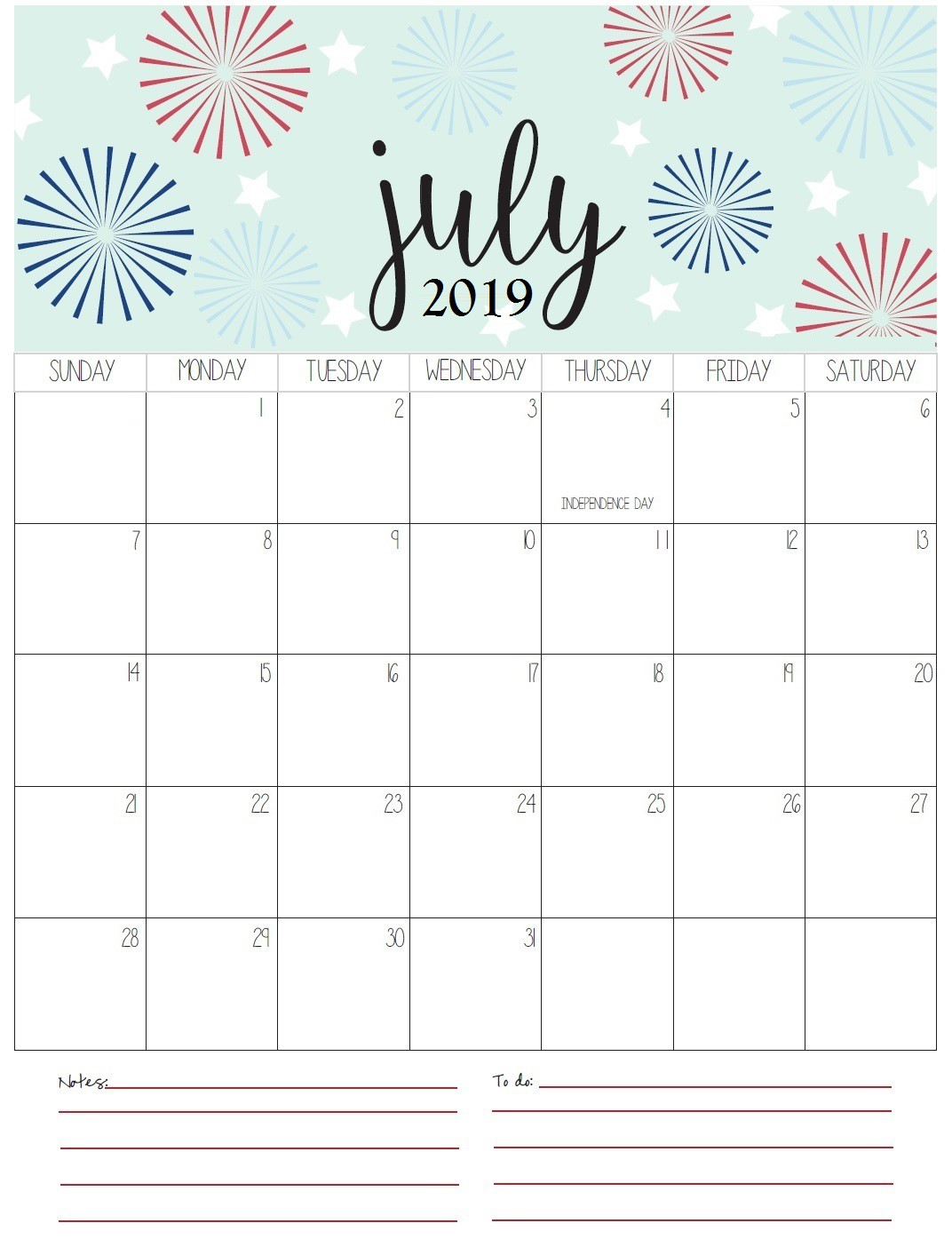 Monthly Printable July Calendar 2019