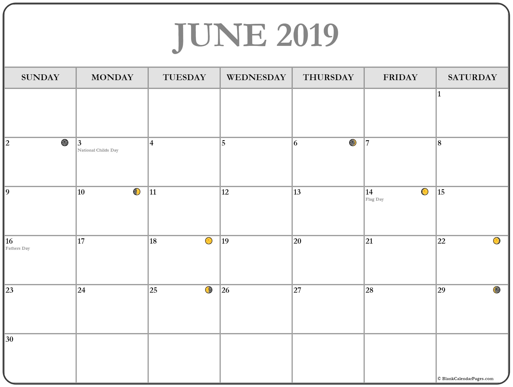 Moon Phases June 2019 Calendar Printable