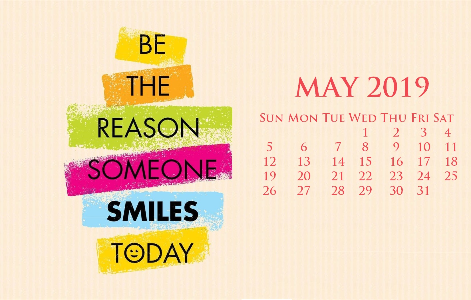 Motivation Quotes May 2019 Calendar Wallpaper