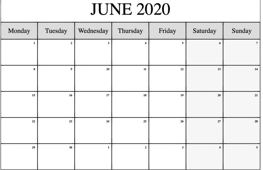 Online Blank June 2020 Calendar for Office