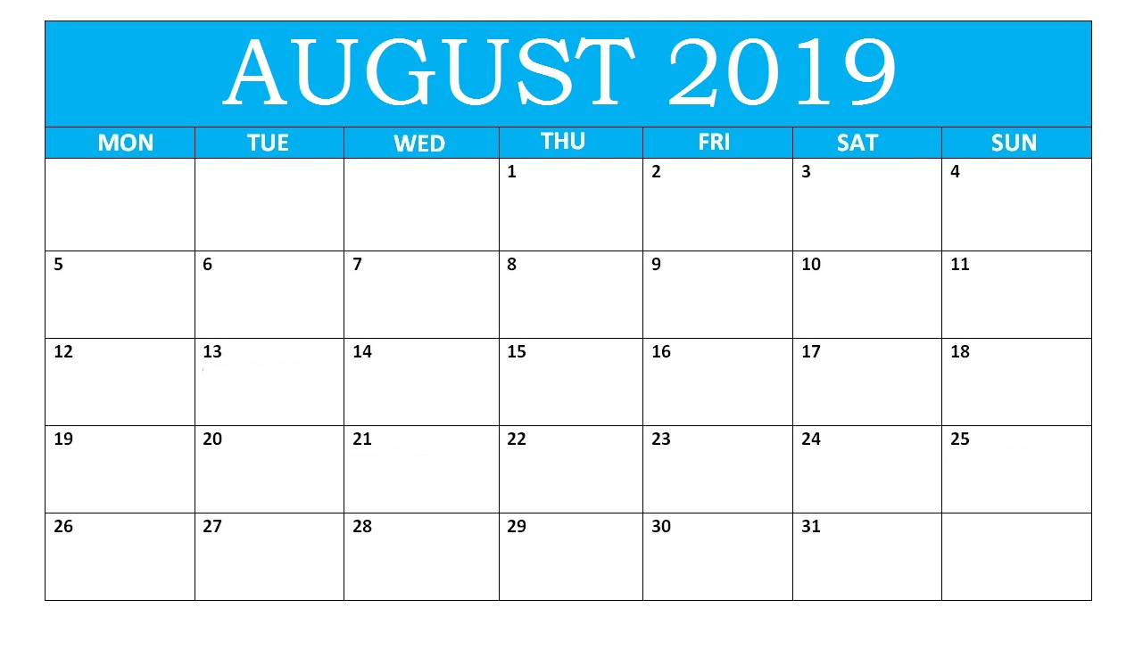 Print August 2019 Calendar with Notes