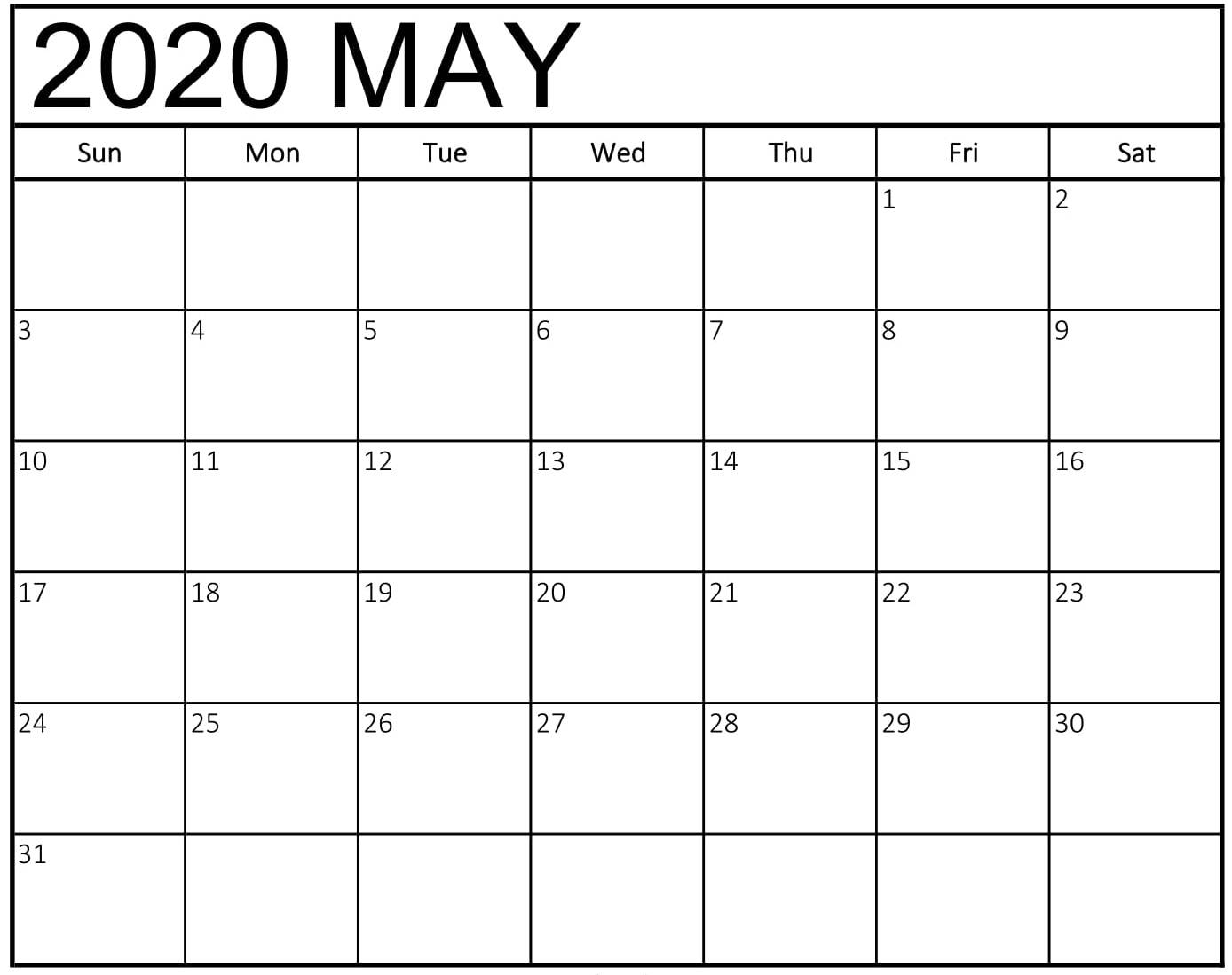 Print Blank Calendar May 2020