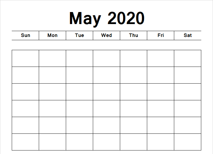 Print Blank May 2020 Calendar Template