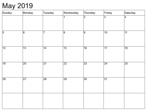 Print Monthly Blank Calendar May 2019
