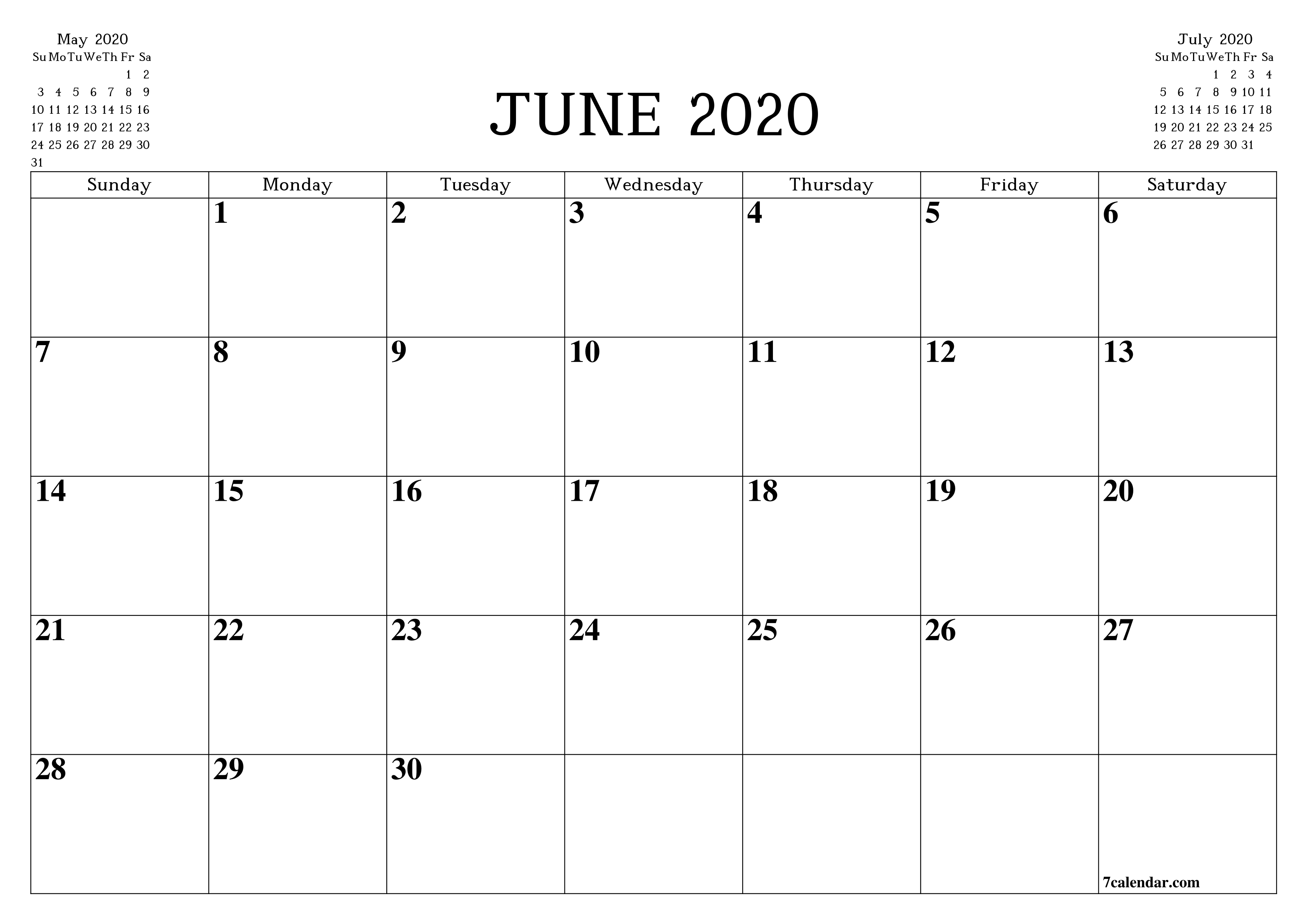 Printable Blank Monthly Calendar June 2020