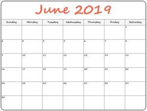 Printable Calendar June 2019