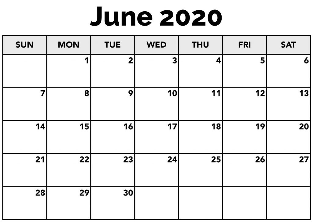 Printable Calendar Template June 2020