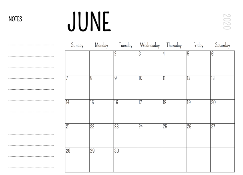 Printable June 2020 Blank Calendar with Notes