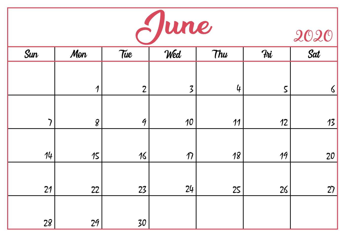 Printable June 2020 Calendar Template