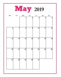 Printable May 2019 Vertical Blank Template
