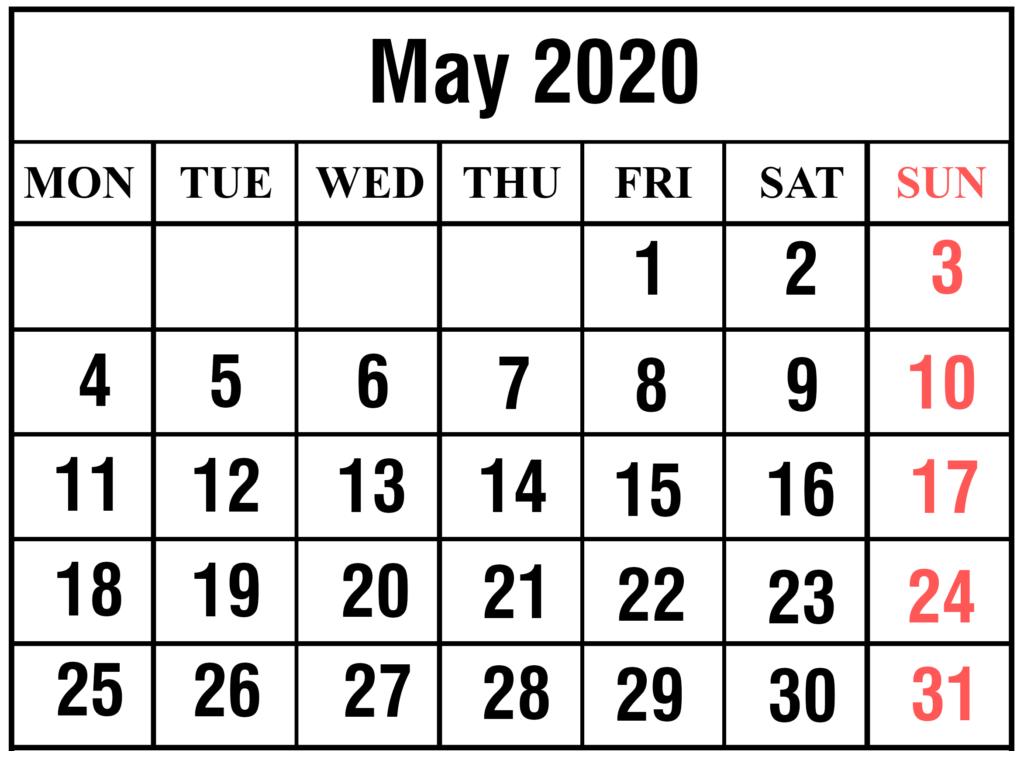 Printable May 2020 Blank Calendar