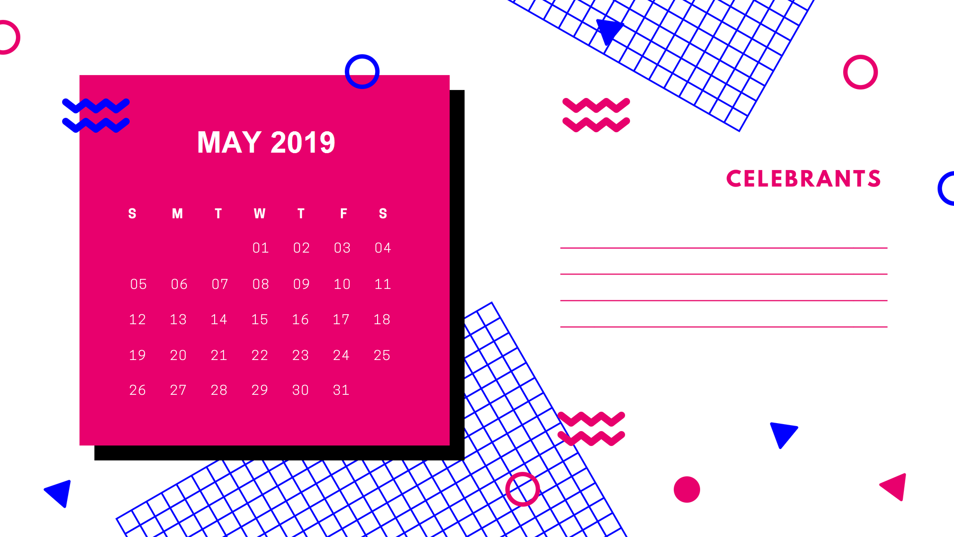 Stylish May 2019 Calendar