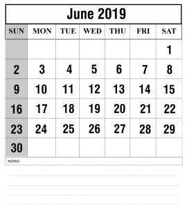 free Printable June 2019 Calendar Template