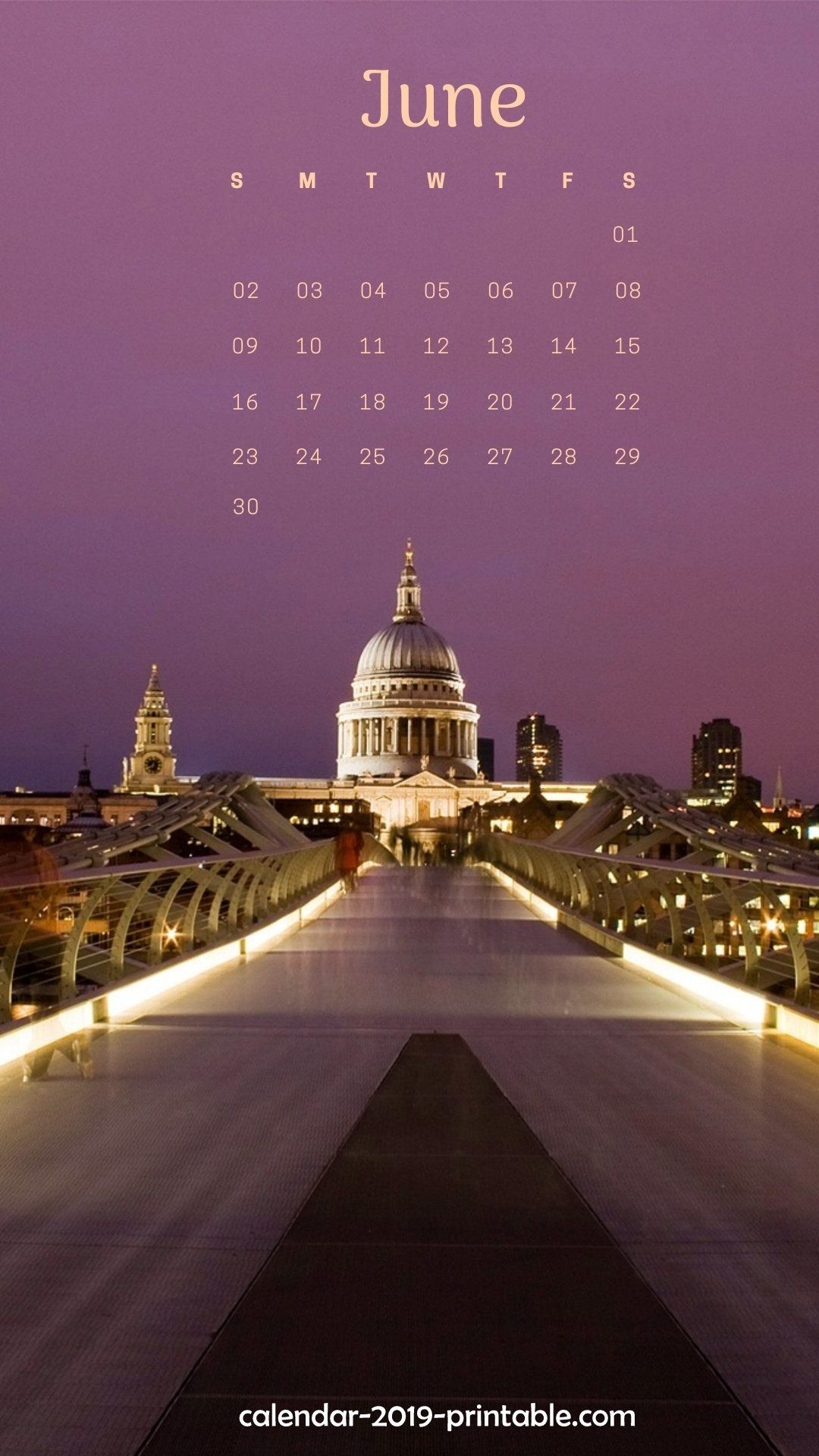 iPhone Calendar Wallpaper June 2019