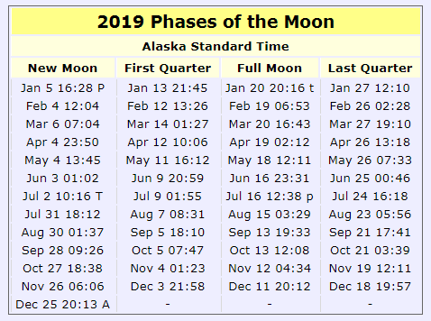 2019 Phases of the Moon