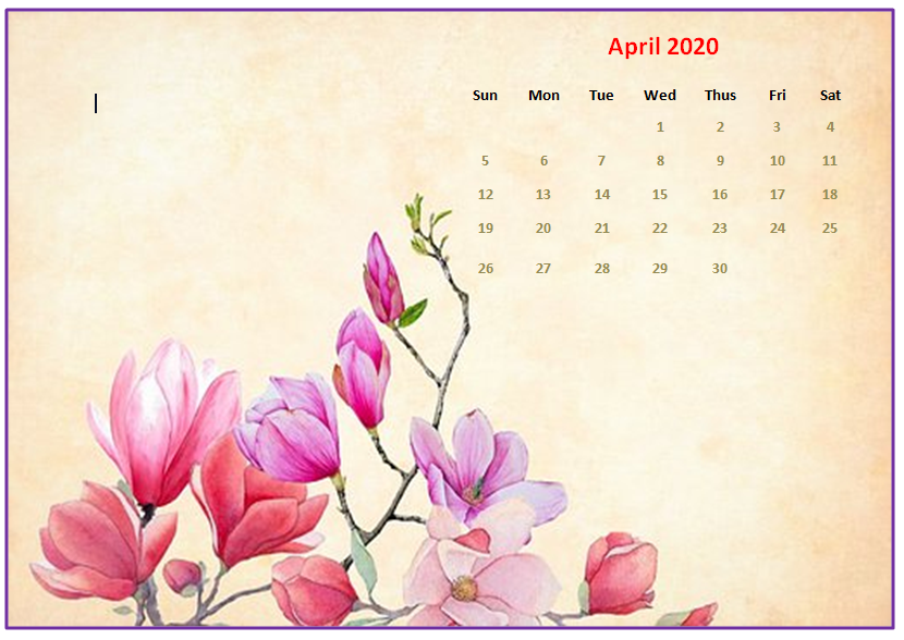 April 2020 Desktop Calendar Wallpapers