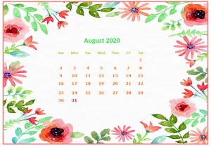 August 2020 Desktop Calendar Wallpapers