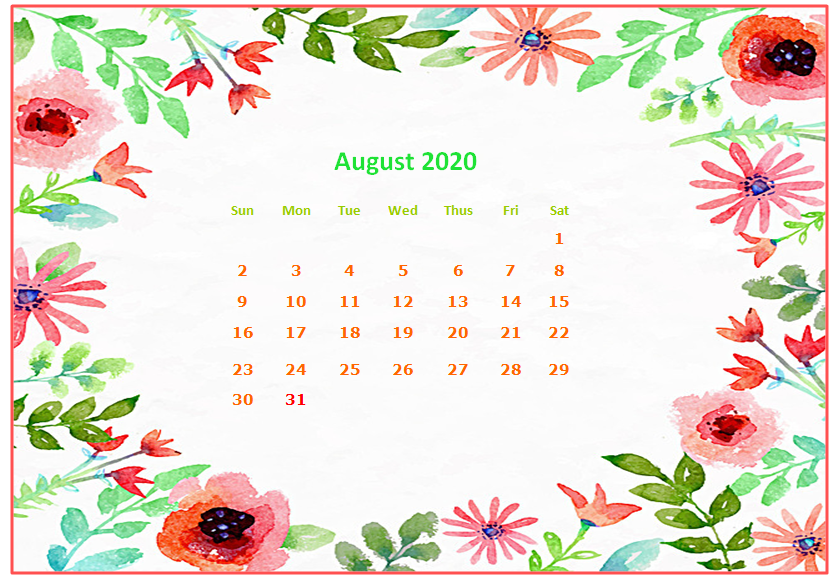 August 2020 Desktop Calendar Wallpapers