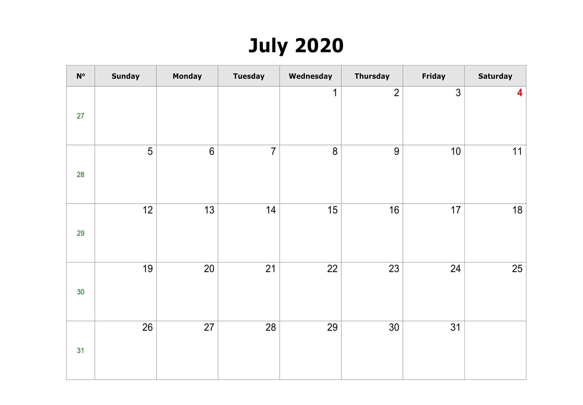 Blank Calendar For July 2020