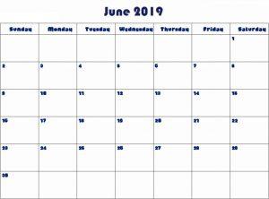 Blank Calendar June 2019 PDF