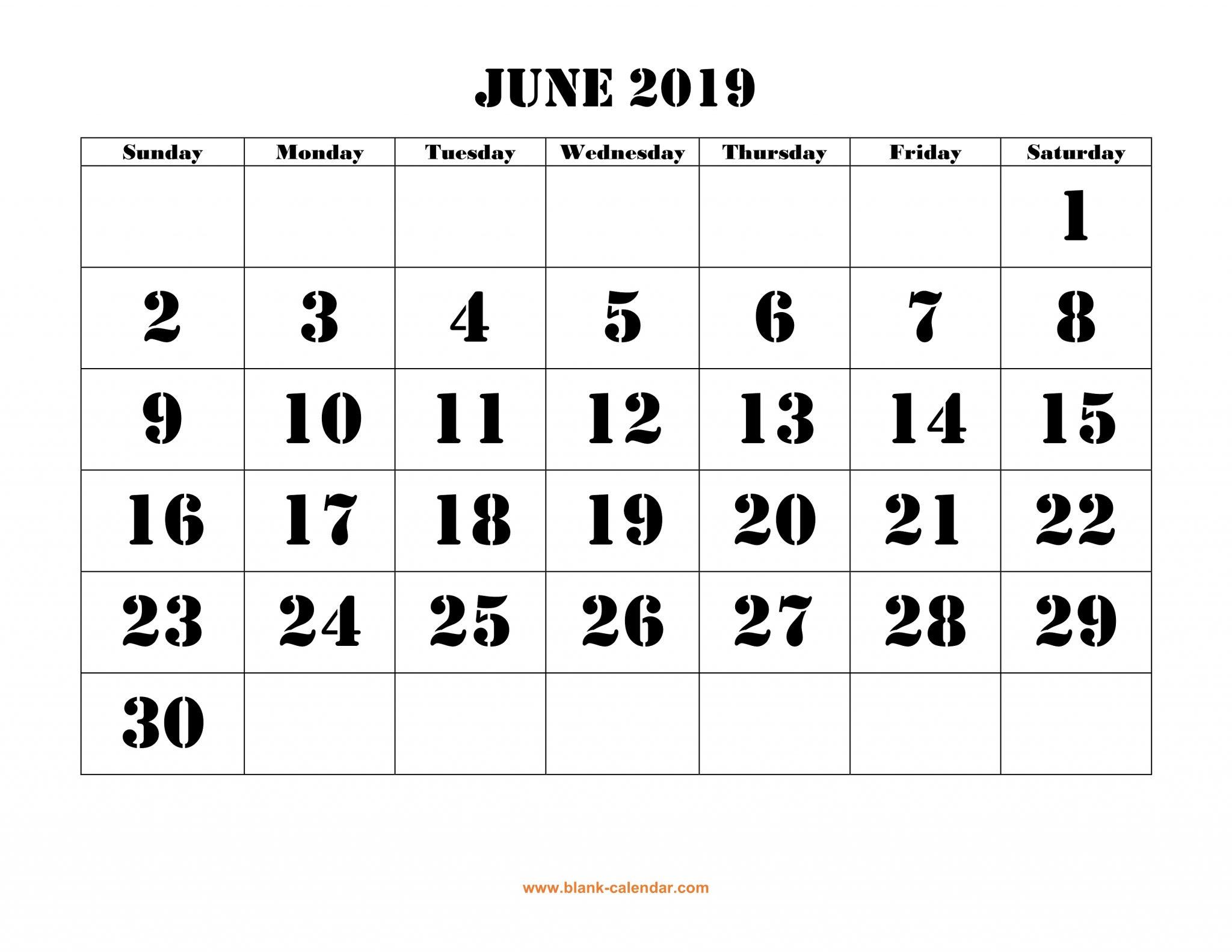 Blank Calendar June 2019