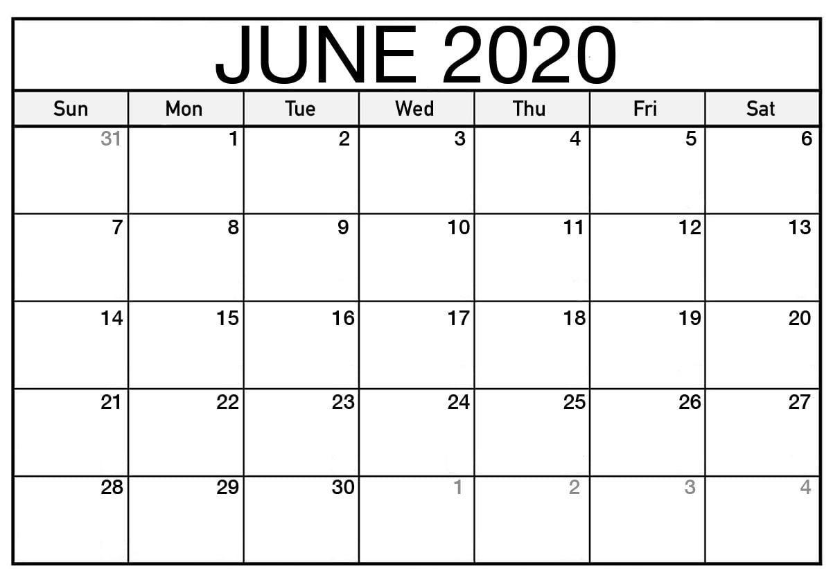 Blank Calendar June 2020 Editable