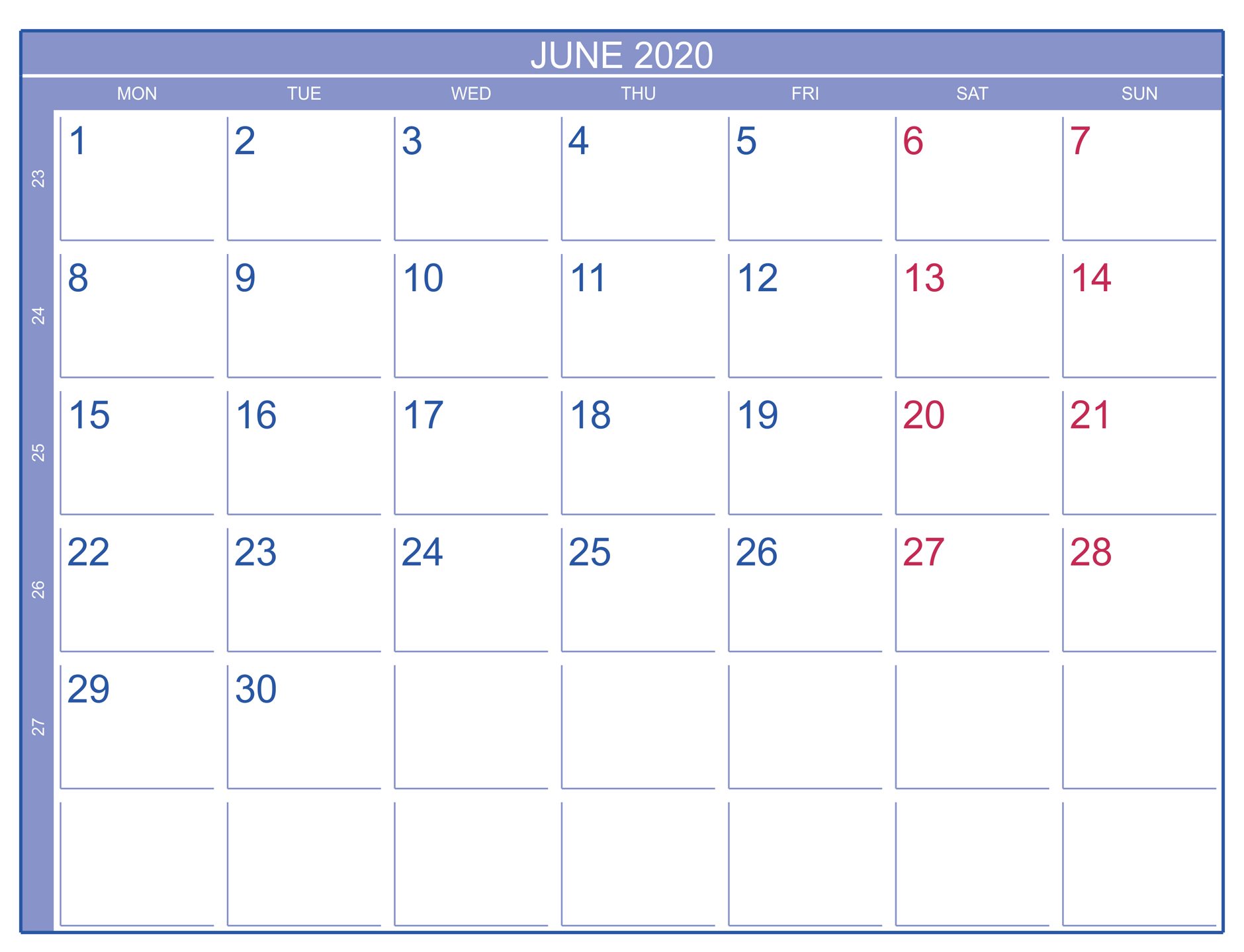 Blank Calendar June 2020