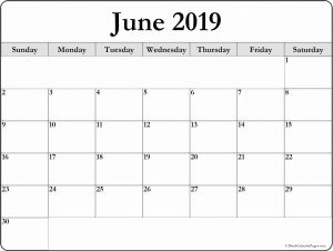 Blank Calendar Template June 2019
