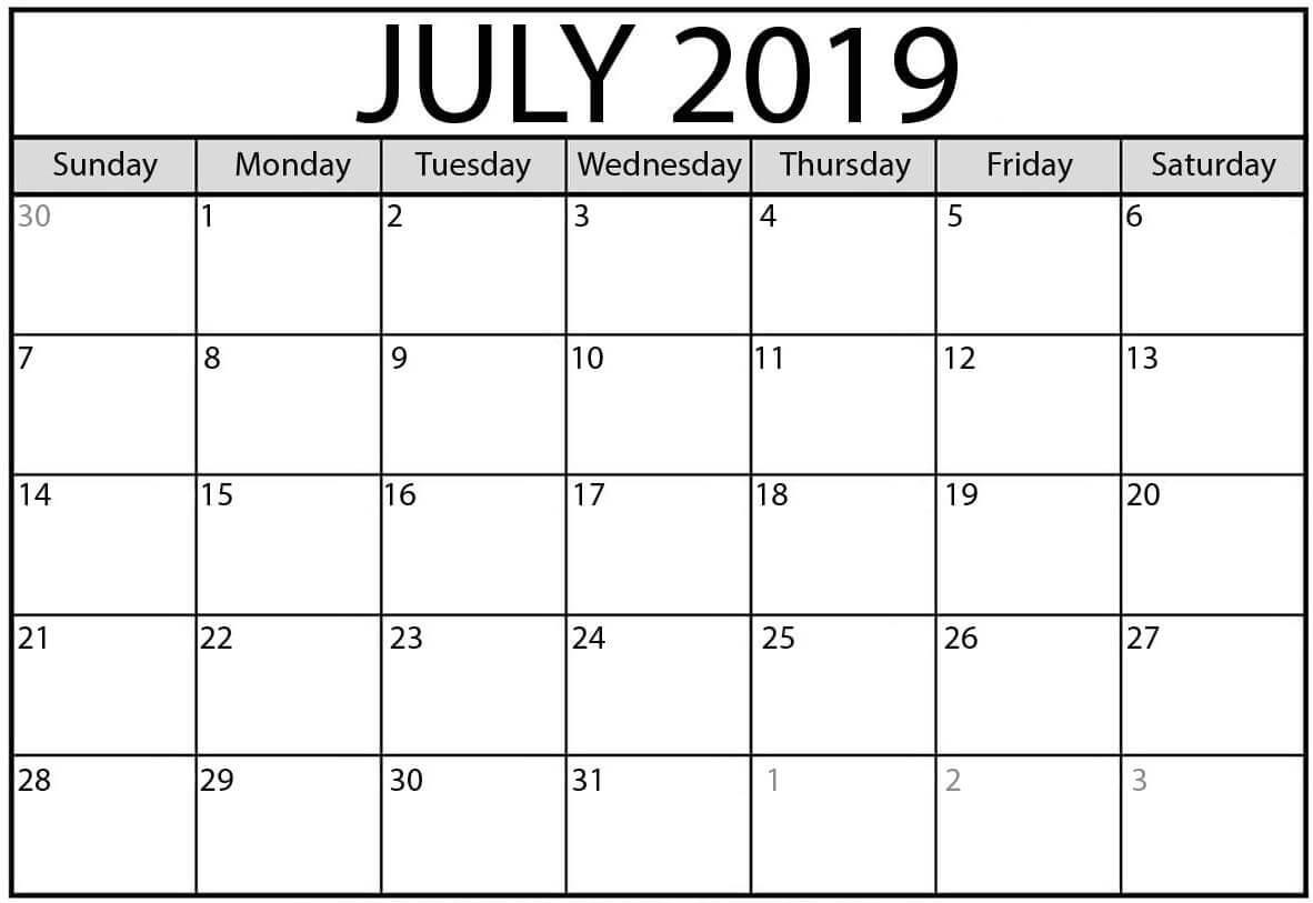 Blank July 2019 Calendar Landscape