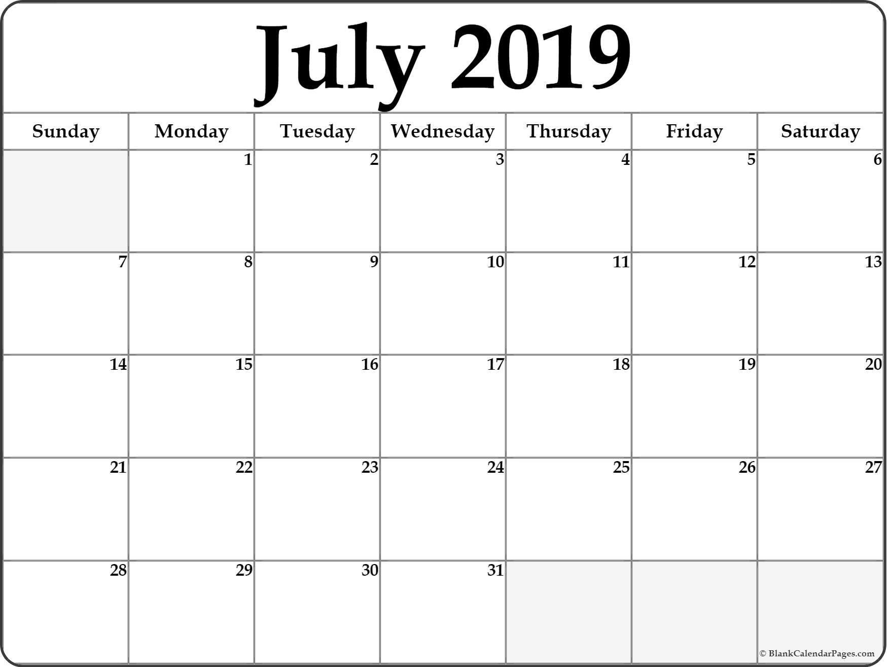 Blank July 2019 Calendar PDF