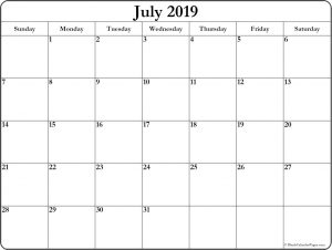Blank July 2019 Calendar Page