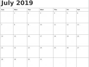 Blank July 2019 Calendar Printable