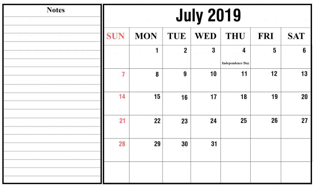 Blank July 2019 Calendar With Notes