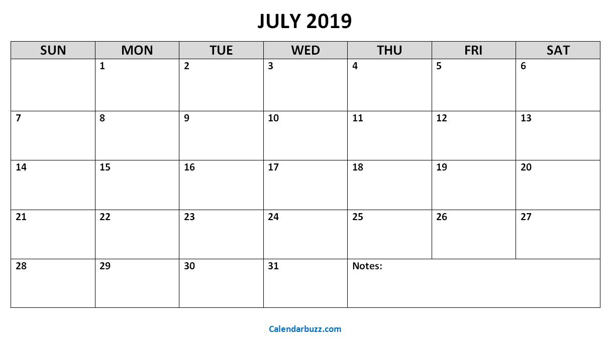 Blank July 2019 Printable Calendar