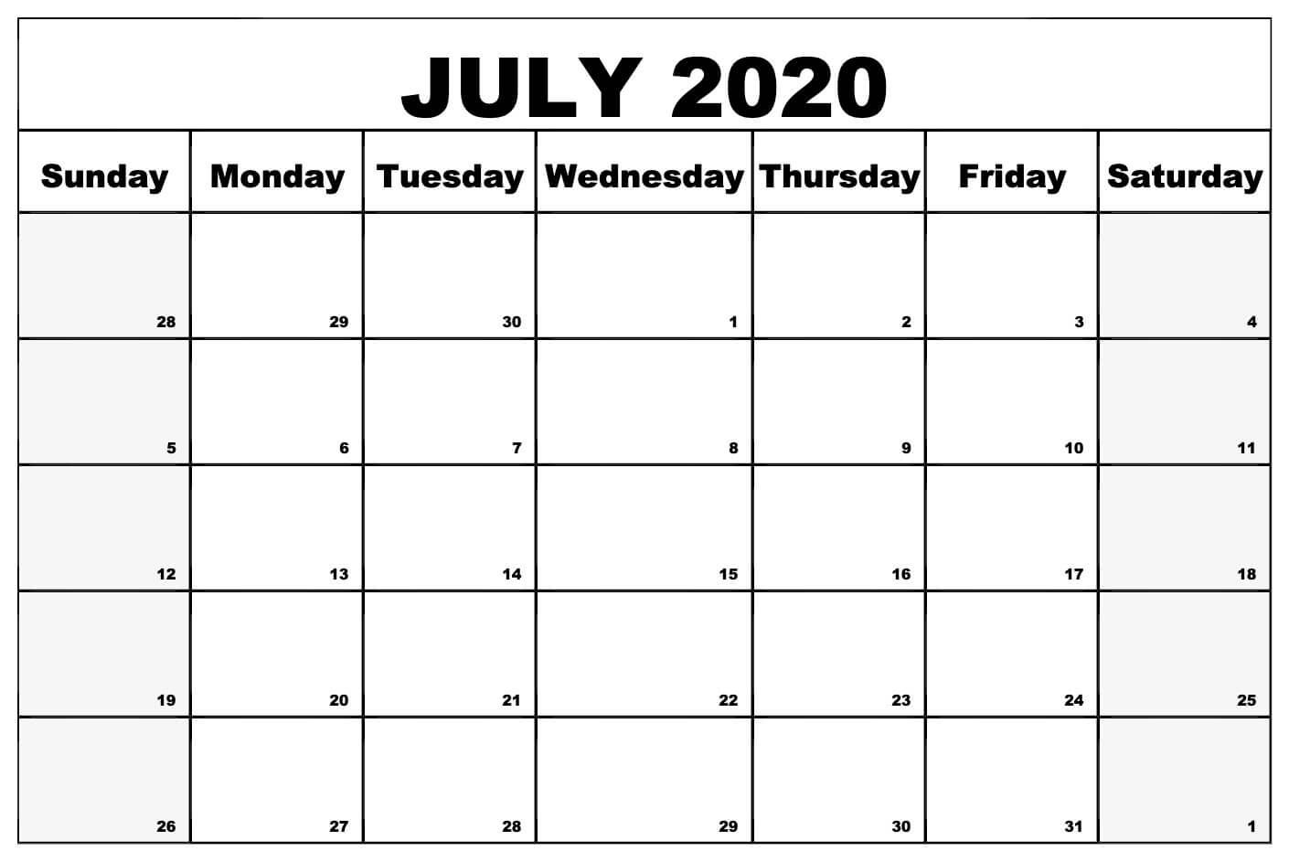 Blank July 2020 Calendar Template