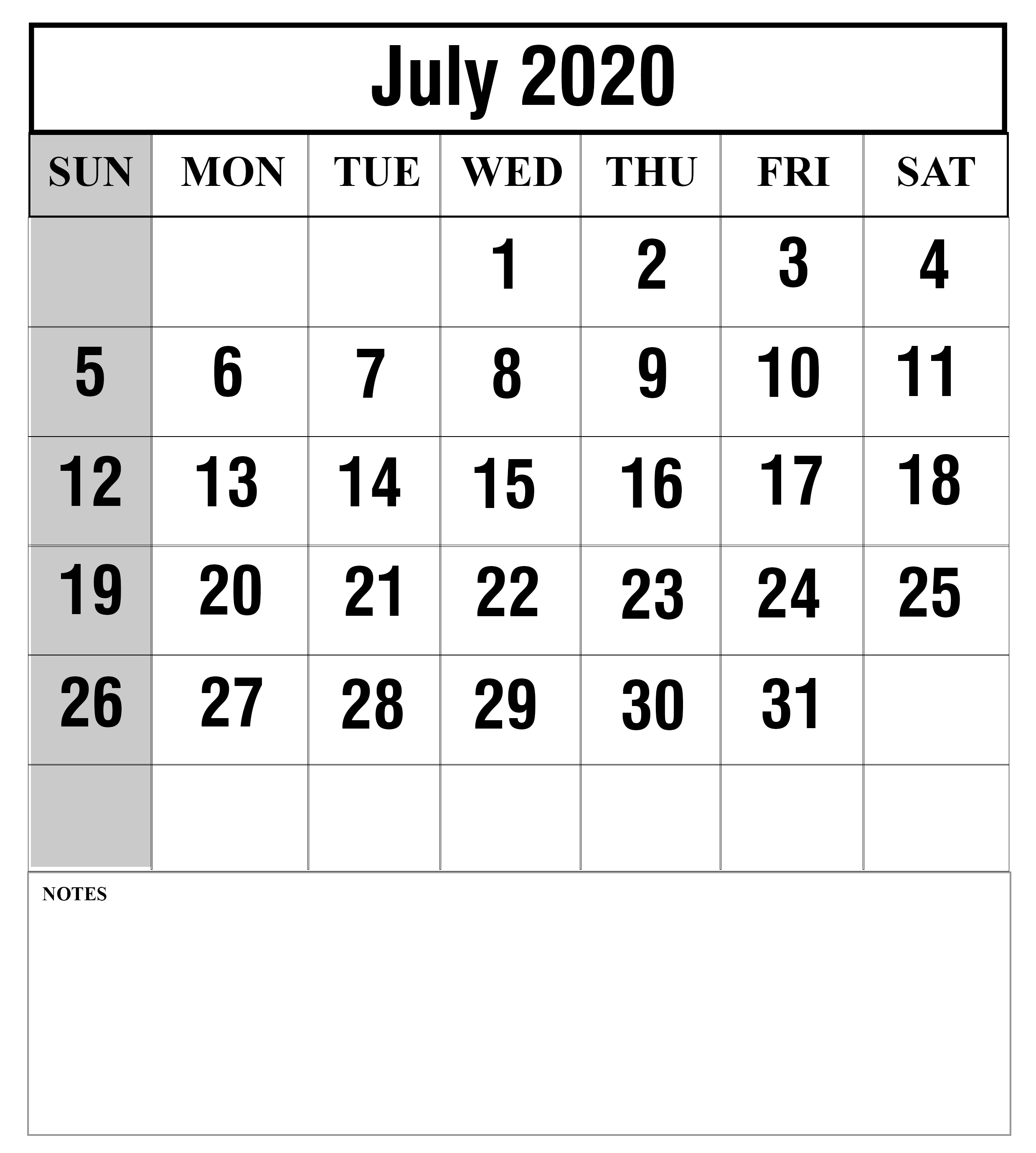 Blank July 2020 Calendar with Notes