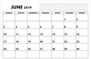 Blank June 2019 Calendar Editable