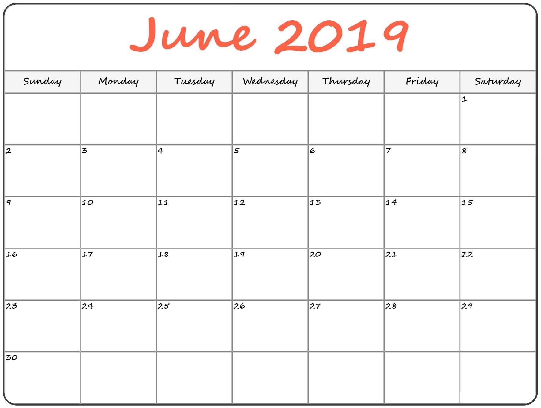 Blank June 2019 Calendar PDF