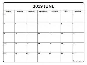 Blank June 2019 Calendar Template